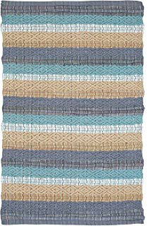 Cotton Rugs in Diamond Weave 24x36 inch Spa Blue Combo,Cotton Area Rugs,Indoor Out Door Rugs 2'x3',Rugs for Living Room, M...