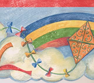 Rainbow Colorful Kites in the Clouds Retro Wallpaper Border for Kids, Roll 15' x 7''
