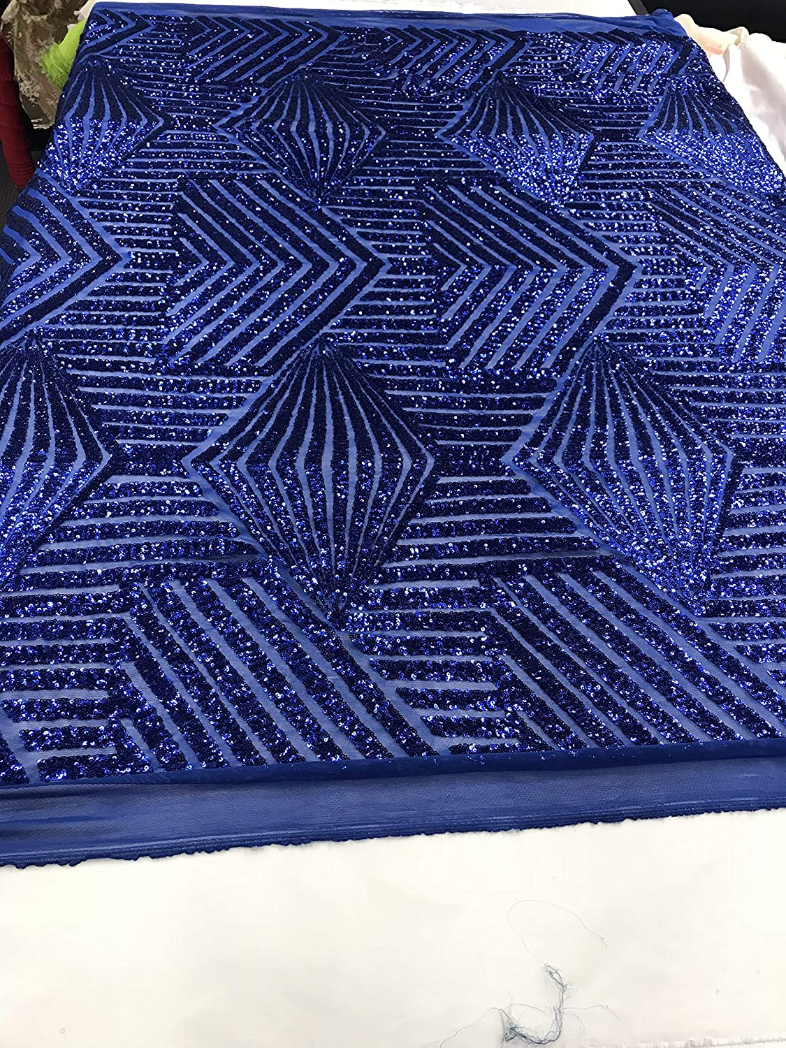 Royal 売買 Blue Fabric Shiny Sequins 現品 4 Way on A Stretch Sol lace MESH