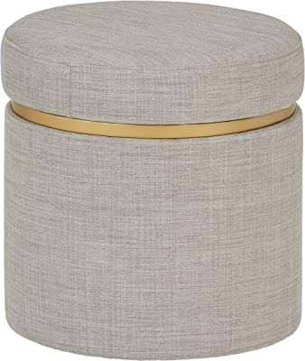 "Amazon Brand – Rivet Asher Round Upholstered Storage Ottoman, 15.75""W, Light Grey"