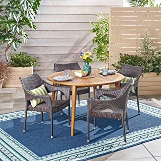 Great Deal Furniture Nix Outdoor 5 Piece Wood and Wicker Dining Set, Teak Finish and Multi Brown