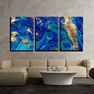 wall26 - 3 Piece Canvas Wall Art - Marbled Blue Abstract Background. Liquid Marble Pattern. - Modern Home Decor Stretched and Framed Ready to Hang - 24