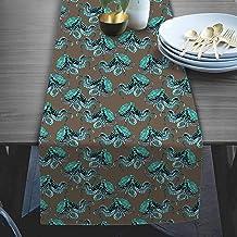 RADANYA Sea Animal Pattern Taffeta Silk Table Runner Wedding for Home Kitchen Birthday Party 14x72 Inches