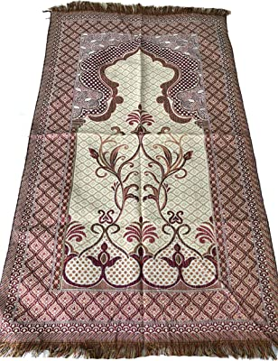 Luxury Quality Silk Rose Pattern Islamic Prayer Rug Janamaz Sajjadah Muslim Namaz Seccade Turkish Prayer Rug (Pink)