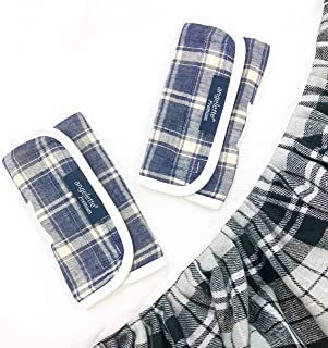 【angelette】Baby Carrier Reversible Sucking Pads/Car Seat Strap Covers/Stroller Belt Covers/Drool Pads/Teething Pads/Made in Japan (Tartan)