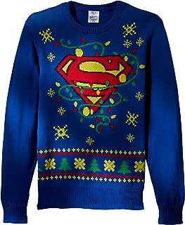f0b91a7cdd0e DC Comics Batman Men s Superman Logo Ugly Christmas Sweater with Led Lights