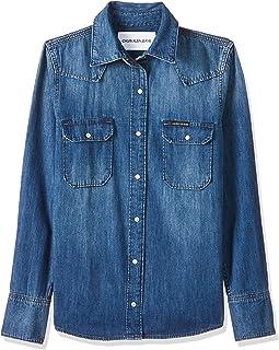 Calvin Klein Women's 8719113667-Blue Shirts