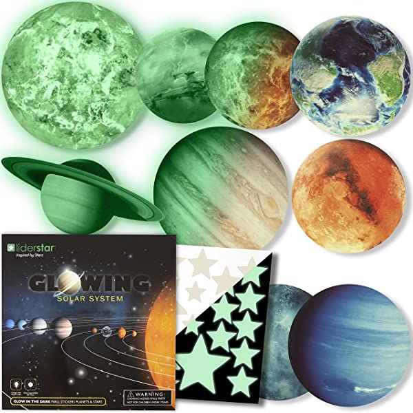 Glow In The Dark Stars And Planets Bright Solar System Wall Stickers Sun Earth Mars And So On 9 Glowing Ceiling Decals For Bedroom Living Room Shining Space Decoration For Kids For Girls And Boys