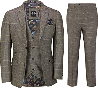 Mens 3 Piece Tweed Suit Tan Herringbone Check Retro Tailored Fit