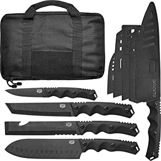 11 Piece DFACKTO Rugged Knife Set with Sheaths and Case for Kitchen and Camping, Stonewashed High Carbon Stainless Steel Knives in Travel Kit, G10 Handles, Matte Black Cooking Utensils