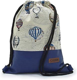 By Bers LEON Turnbeutel mit Innentaschen Rucksack Tasche Damen Herren & Teenager Gym Bag Draw String montgolfier