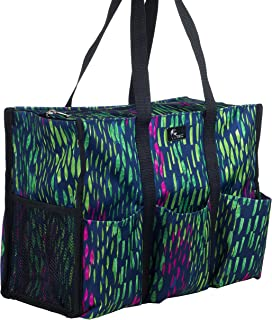 Pursetti Zip-Top Organizing Utility Tote Bag with Multiple Exterior & Interior Pockets for Working Women, Nurses, Teachers and Soccer Moms (Tropical Rain)