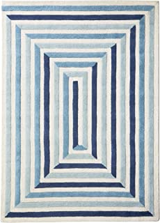 Now House by Jonathan Adler Maze Collection Area Rug, 5' x 7', Ivory and Blue