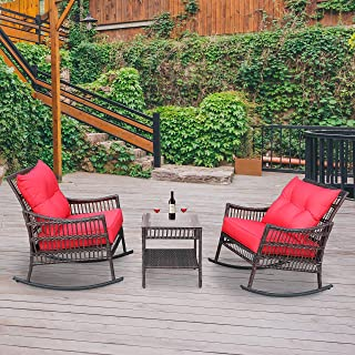 VEIKOU 3 Piece Outdoor Patio Rattan Rocker Chair Outdoor...