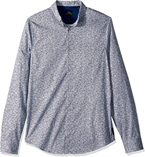 A|X Armani Exchange Men's Patterned Long-Sleeve Cotton Button Down