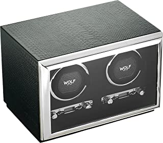 WOLF 461820 Exotic Double Watch Winder with Cover, Black