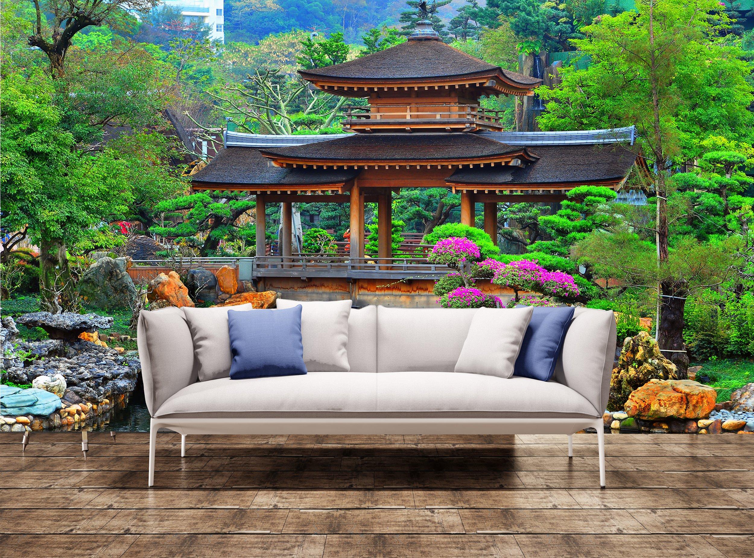 Poster: Pagoda en China Zen Jardín impresión pared pared papel pintado adhesivo: Amazon.es: Bricolaje y herramientas