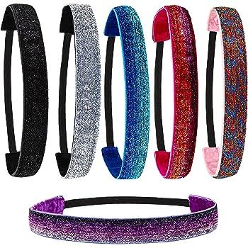 FROG SAC 6 PCS Glitter Headbands for Girls, NonSlip Kids Headbands for Girls, Hair Accessories for Girls, Sparkly Girls Headbands for Teen Girls, Cute Elastic Headbands for Women, Girl Headband