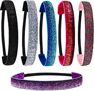 6 Sparkly Glitter Elastic Headbands, Non Slip Stretch Velvet Fabric for Tween Teens Kids Girls, Stretchy Workout Fashion Hair Accessories for Women, Yoga & Sports Head Wraps, Cute Girl Party Favors