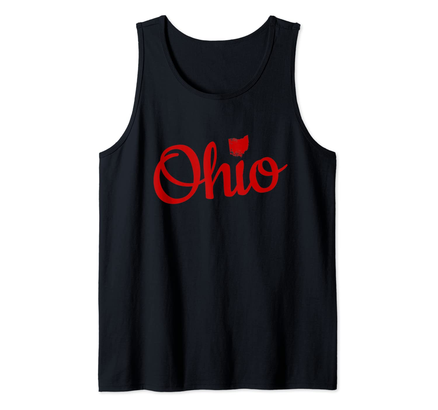 Cute Ohio Red Script OH Map Love Home Buckeye State Tank Top