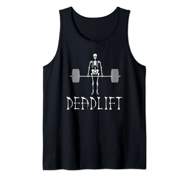 Skeleton Dead Lift Funny Halloween Lifting Weights Men Women Tank Top