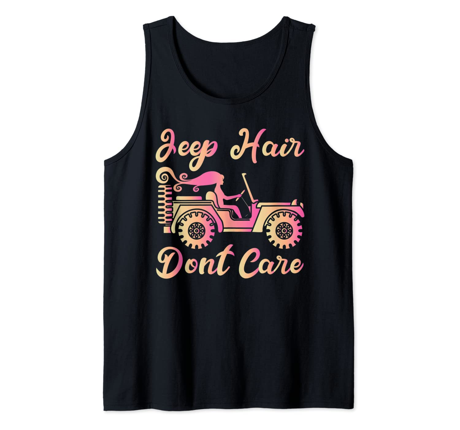 Jeep Long Hair Girl Do not Care 4x4 Off Road Tank Top