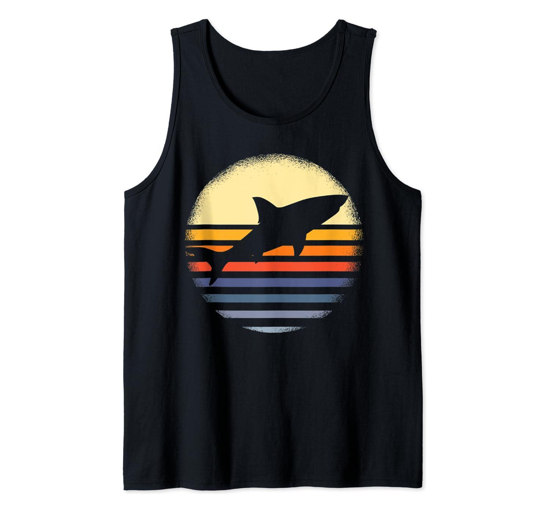 Vintage Shark Shirt Retro Shark Lover Gift Shark Sunset Tank Top