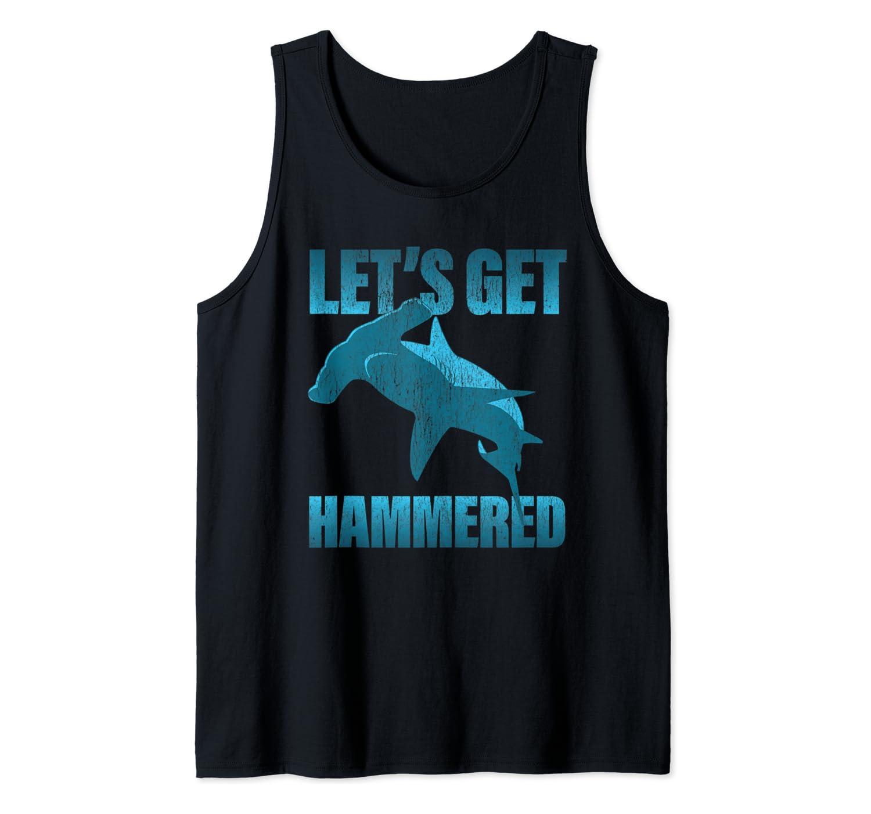 Funny Deep Sea Diving product - Faded Hammerhead Shark Tank Top