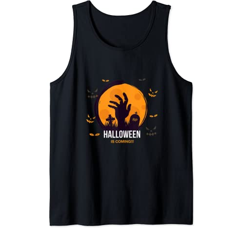 Halloween Is Coming, Zombie Hand And Grave Yard Halloween Tank Top