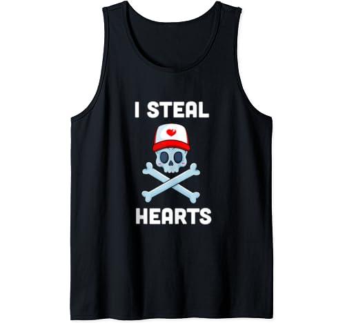 I Steal Hearts Valentines Day Pirate Boys Valentine Boy Tank Top
