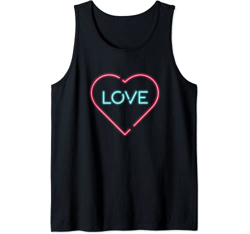 Retro Sign 80s Valentines Day Pink Heart Top Tank Top