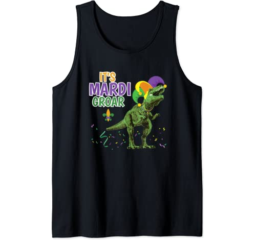 Mardi Gras Dinosaur T Rex Funny Mardi Groar Tank Top