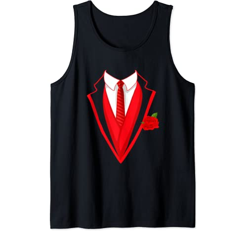Valentine's Tuxedo Costume Red Bow Tie Rose Valentine Day Tank Top