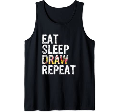 Awesome Drawing Costume Eat Sleep Draw Repeat Art Education Tank Top