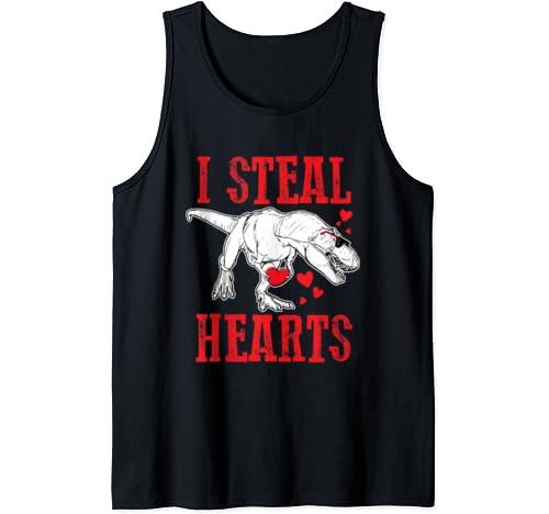 T Rex Valentine Valentine's Day Dino Steal Hearts Love Tank Top