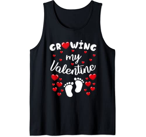 Growing My Valentine Valentine's Day Pregnancy Announcement Tank Top