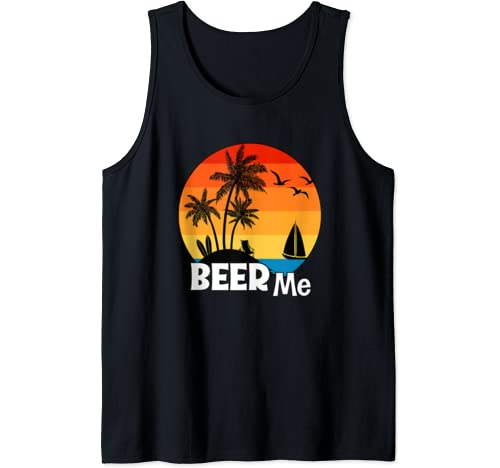 Beer Me Summer Sunset Beach Vacation Vacay Day Drinking Tank Top
