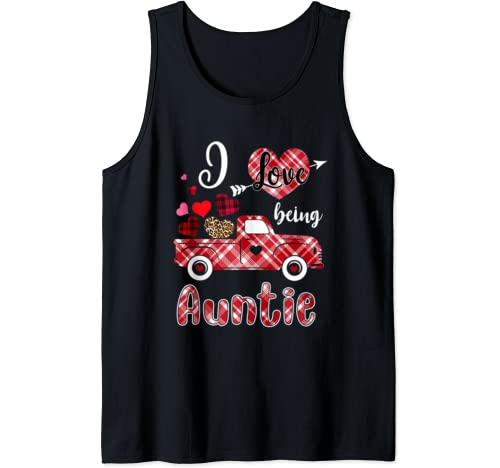I Love Being Auntie Red Plaid Truck Heart Valentines Day Tank Top