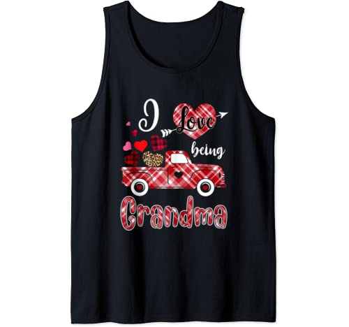 I Love Being Grandma Red Plaid Truck Heart Valentines Day Tank Top