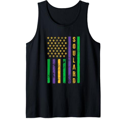 Soulard Mardi Gras Flag Fleur De Lis St. Louis Mardi Gras Tank Top