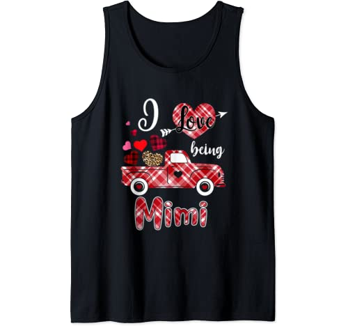 I Love Being Mimi Red Plaid Truck Heart Valentines Day Tank Top