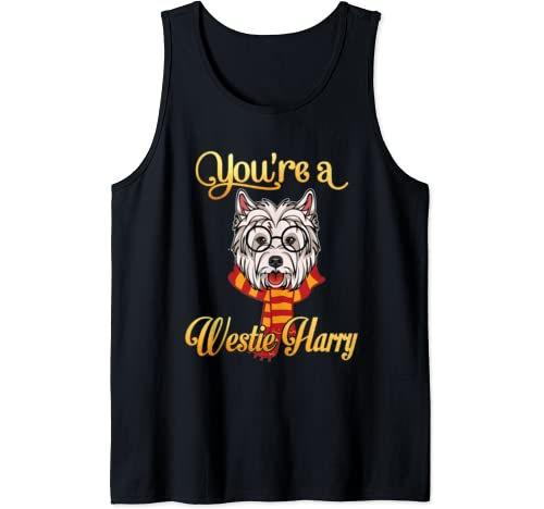 Daddy Mommy You're A Westie Harry Dog Potter Glasses Scarf Tank Top