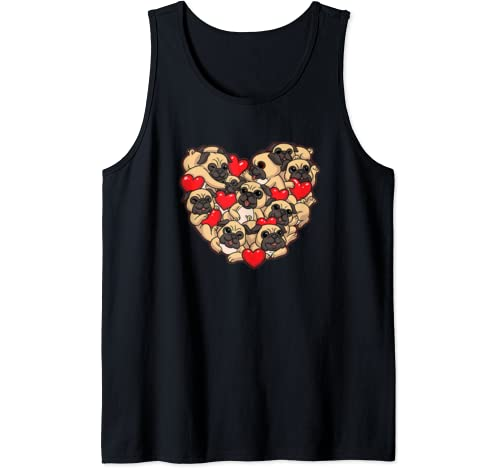 Pug Valentines Day Shirt Dog Lover Womens Gift Heart Love Tank Top