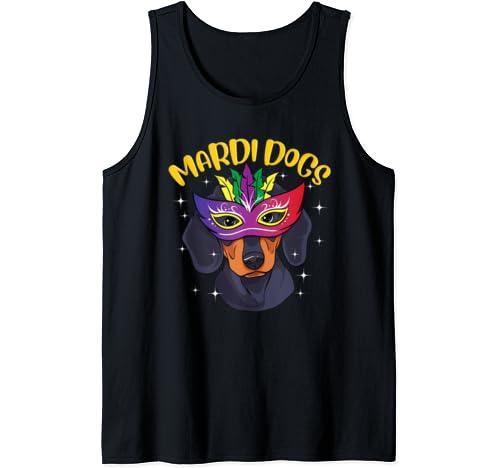 Dachshund Wearing Mardi Gras Mask Mardi Dogs Doxie Tank Top