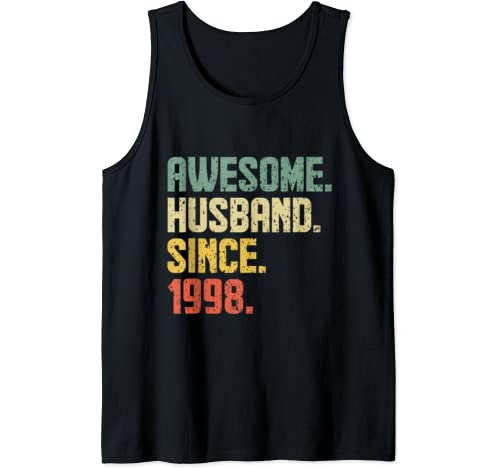Mens Awesome Husband Since 1998 Retro Style Design Tank Top