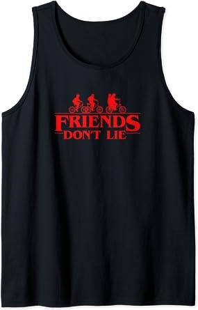 Stranger Things Group Shot Red Friends Don't Lie Débardeur