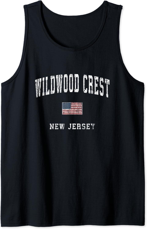 Wildwood Crest New Jersey NJ Vintage American Flag Sports Tank Top