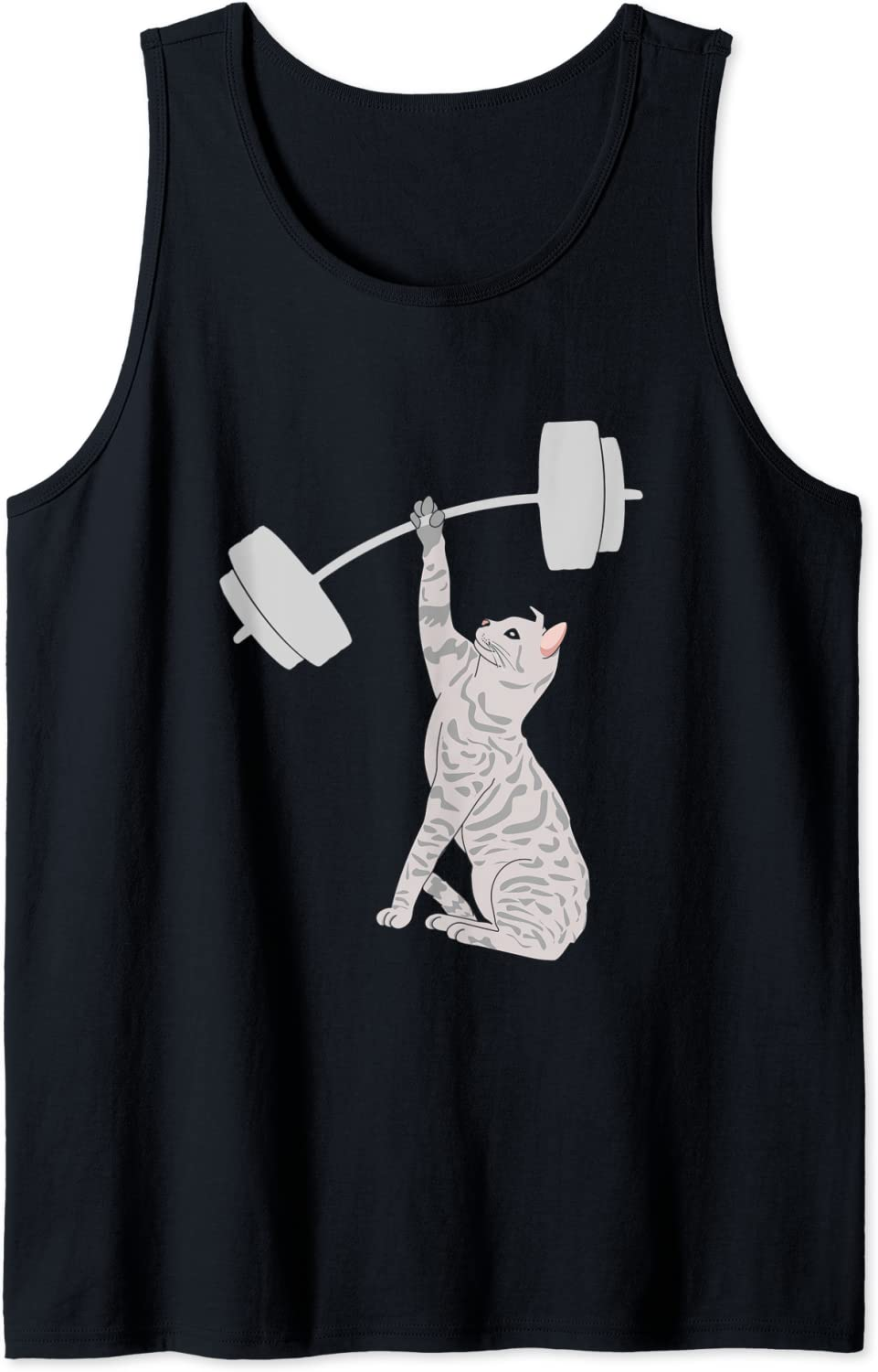 Cat Deadlifting Funny Fitness Gym Lover Tank overseas latest Top BarBell