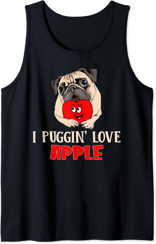 Funny I Puggin' Love Apple Fruit Pug Puppy Dog Apparel Tank Top