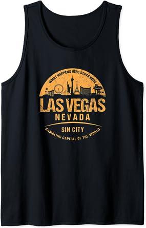 Las Vegas Nevada Grunge Cityscape Skyline Vacation Souvenir Débardeur
